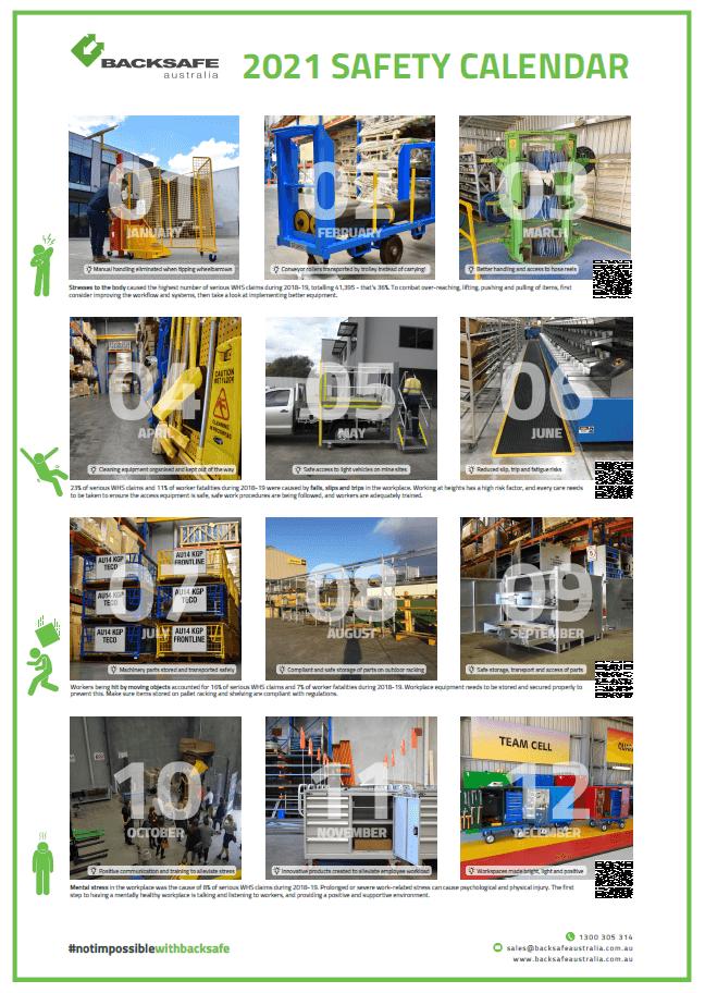 2021 Safety Calendar by Backsafe Australia_image